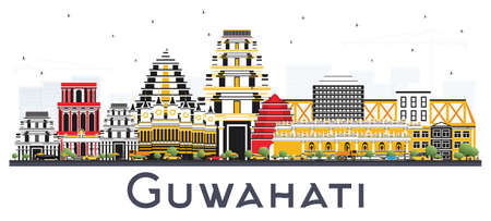 Guwahati India City Skyline with Color Buildings Isolated on White Background. Vector Illustration. Business Travel and Tourism Concept with Historic Architecture. Guwahati Cityscape with Landmarks. Illustration