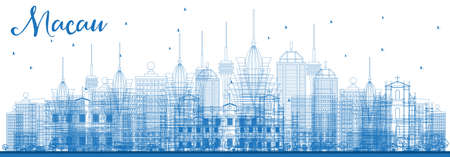 Outline Macau China City Skyline with Blue Buildings. Vector Illustration. Business Travel and Tourism Concept with Modern Architecture. Macau Cityscape with Landmarks. Illustration