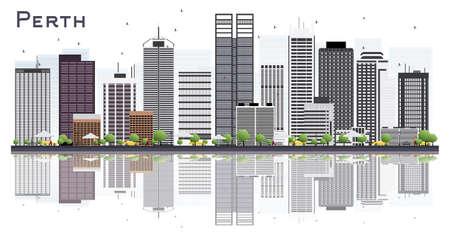 白い背景に隔離された灰色の建物を持つパースオーストラリアシティスカイライン。ベクトルイラストレーション。現代建築を用いたビジネストラ