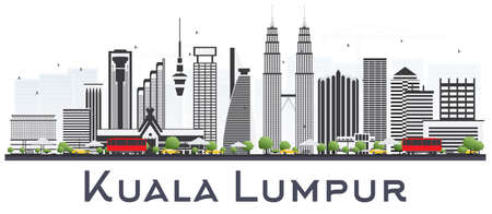 Kuala Lumpur Malaysia City Skyline with Gray Buildings Isolated on White Background. Vector Illustration. Business Travel and Tourism Concept with Modern Buildings. Kuala Lumpur Cityscape with Landmarks.
