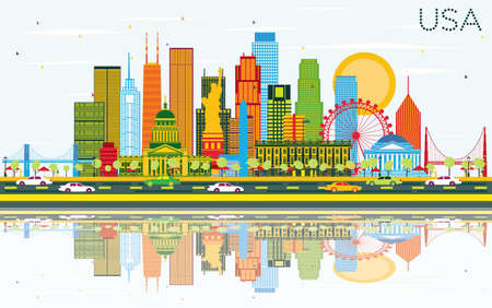 USA Skyline with Color Skyscrapers, Landmarks and Reflections. Vector Illustration. Business Travel and Tourism Concept with Modern Architecture. Image for Presentation Banner Placard and Web Site. Illustration