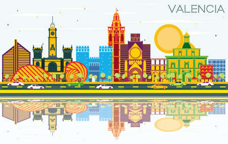 Valencia Spain City Skyline with Color Buildings, Blue Sky and Reflections. Vector Illustration. Business Travel and Tourism Concept with Historic Architecture. Valencia Cityscape with Landmarks.  イラスト・ベクター素材
