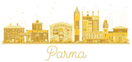 Parma Italy City skyline golden silhouette. Vector illustration. Simple flat concept for tourism presentation, banner, placard or web site. Parma Cityscape with landmarks.