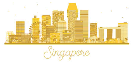 Singapore City skyline golden silhouette. Vector illustration. Business travel concept. Singapore Cityscape with landmarks.