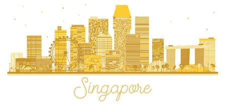 Singapore City skyline golden silhouette. Vector illustration. Business travel concept. Singapore Cityscape with landmarks.