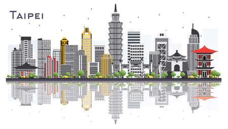 De Stadshorizon van Taipeh Taiwan met Gray Buildings Isolated op Witte Achtergrond. Vector illustratie. Bedrijfsreis en toerisme concept. Taipei Cityscape met monumenten.