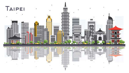 Taipei Taiwan City Skyline with Gray Buildings Isolated on White Background. Vector Illustration. Business Travel and Tourism Concept. Taipei Cityscape with Landmarks.