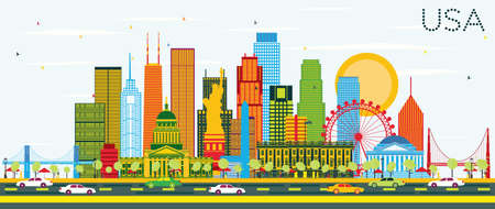USA Skyline with Color Skyscrapers and Landmarks. Vector Illustration. Business Travel and Tourism Concept with Modern Architecture. Image for Presentation Banner Placard and Web Site. Illustration