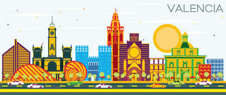 Valencia Spain City Skyline with Color Buildings and Blue Sky. Vector Illustration. Business Travel and Tourism Concept with Historic Architecture. Valencia Cityscape with Landmarks. Illustration