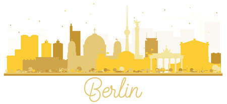 Berlin Germany City skyline golden silhouette. Vector illustration. Cityscape with landmarks. Berlin isolated on white background.