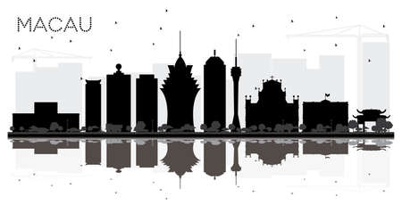 Macau China City Skyline Black and White Silhouette with Reflections. Vector Illustration. Illustration