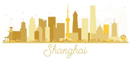 Shanghai China City skyline golden silhouette. Vector illustration.