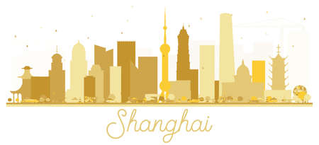 Shanghai China City skyline golden silhouette. Vector illustration.