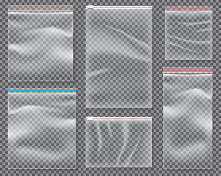 Transparent Nylon Bag with Lock or Zip. Vector Illustration. Set of Isolated Sealed Polythene Packs.  Illustration