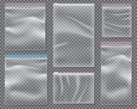 Transparente Nylontasche mit Schloss oder Reißverschluss. Vektor-Illustration. Satz lokalisierte Siegelpolyethylen-Sätze.
