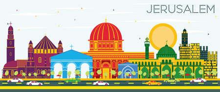 Orizzonte di Gerusalemme Israele con edifici di colore e cielo blu. Illustrazione vettoriale Concetto di viaggio d'affari e turismo con architettura storica. Paesaggio urbano di Gerusalemme con punti di riferimento. Archivio Fotografico - 93709974