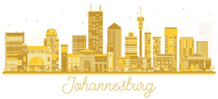 Johannesburg South Africa City skyline golden silhouette. Simple flat concept for tourism presentation, banner, placard or web site. Johannesburg Cityscape with landmarks. Illustration