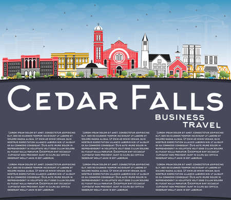 Cedar Falls Iowa Skyline with Color Buildings, Blue Sky and Copy Space. Vector Illustration. Business Travel and Tourism Illustration with Historic Architecture. Cedar Falls Cityscape with Landmarks. Çizim