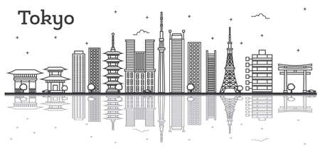 Outline Tokyo Japan City Skyline with Modern Buildings Isolated on White. Vector Illustration. Tokyo Cityscape with Landmarks.