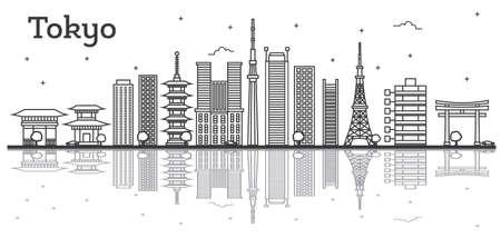 Umreißen Sie Stadt-Skyline Tokyos Japan mit den modernen Gebäuden, die auf Weiß lokalisiert werden. Vektor-Illustration. Tokio Stadtbild mit Sehenswürdigkeiten. Vektorgrafik