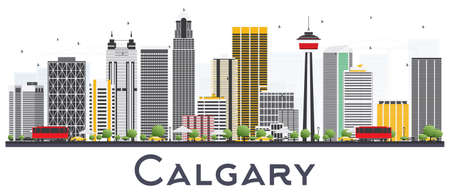 Calgary Canada City Skyline with Gray Buildings Isolated on White Background. Vector Illustration. Business Travel and Tourism Concept with Modern Buildings. Calgary Cityscape with Landmarks.