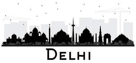 Delhi India City Skyline Black and White Silhouette. Vector Illustration. Simple Flat Concept for Tourism Presentation, Placard. Business Travel Concept. Delhi Cityscape with Landmarks.