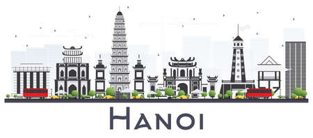 Hanoi Vietnam City Skyline with Gray Buildings Isolated on White Background. Vector Illustration. Business Travel and Tourism Concept with Modern Buildings. Hanoi Cityscape with Landmarks. Ilustração