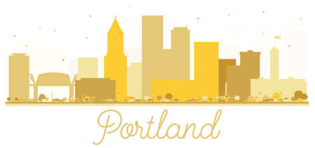 Portland Oregon USA City skyline golden silhouette. Vector illustration. Simple flat concept for tourism presentation, banner, placard or web site. Portland Cityscape with landmarks.