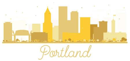 Portland Oregon USA City skyline golden silhouette. Vector illustration. Simple flat concept for tourism presentation, banner, placard or web site. Portland Cityscape with landmarks.