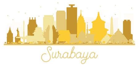 Surabaya Indonesia City skyline golden silhouette. Vector illustration. Simple flat concept for tourism presentation, banner, placard or web site. Surabaya Cityscape with landmarks. Illustration