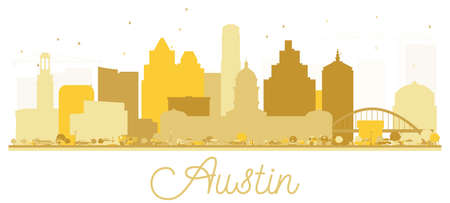 Austin Texas USA City skyline golden silhouette. Vector illustration. Simple flat concept for tourism presentation, banner, placard or web site. Austin Cityscape with landmarks.