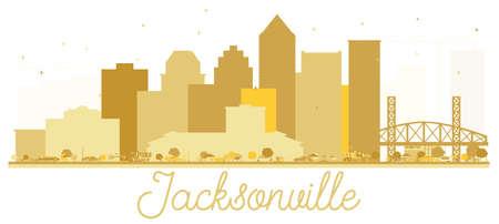 Jacksonville Florida USA City skyline golden silhouette. Vector illustration. Simple flat concept for tourism presentation, banner, placard or web site. Jacksonville Cityscape with landmarks.