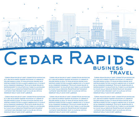 Outline Cedar Rapids Iowa City Skyline with Blue Buildings and Copy Space. Vector Illustration. Business Travel and Tourism Illustration with Historic Architecture.