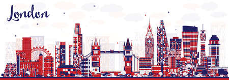 Abstract London England City Skyline with Color Buildings. Vector Illustration. London Cityscape with Landmarks.