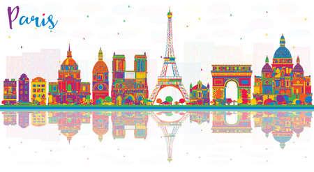 色の建物と反射とパリフランスシティスカイライン。ベクトルイラストレーション。歴史的建築を用いたビジネストラベルと観光のコンセプト。ラ