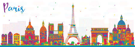 Paris France City Skyline with Color Buildings. Vector Illustration. Business Travel and Tourism Concept with Historic Architecture. Paris Cityscape with Landmarks.