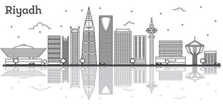 Outline Riyadh Saudi Arabia City Skyline with Modern Buildings Isolated on White. Vector Illustration. Riyadh Cityscape with Landmarks and Reflections. Illustration
