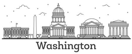 Outline Washington DC USA City Skyline with Modern Buildings Isolated on White. Vector Illustration. Washington DC Cityscape with Landmarks.