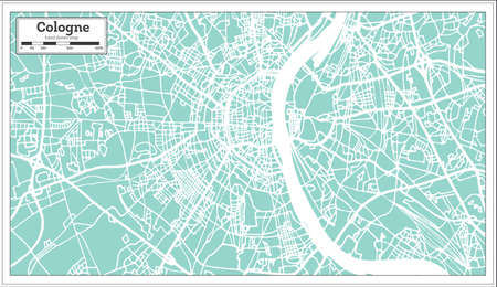 Cologne Germany City map in retro style. Outline map. Vector illustration.