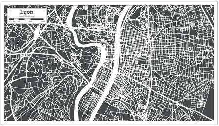 Lyon France City map in retro style. Outline map. Vector illustration.