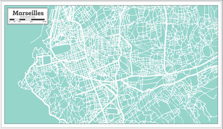 Marseille France City map in retro style. Outline map. Vector illustration.