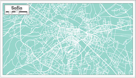 Sofia Bulgaria City Map in Retro Style. Outline Map. Vector Illustration.