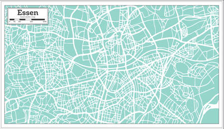 Essen Germany City Map In Retro Style Outline Map Vector