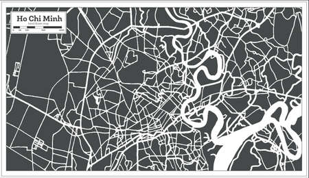 Ho Chi Minh Vietnam City Map in Retro Style. Outline Map. Vector Illustration.