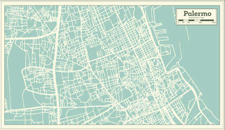 Palermo Italy City Map in Retro Style. Outline Map. Vector Illustration.