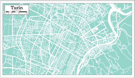Turin Italy City Map in Retro Style. Outline Map. Vector Illustration. Vettoriali