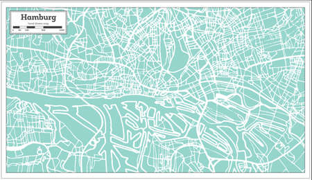 Hamburg Germany City Map in Retro Style. Outline Map. Vector Illustration.