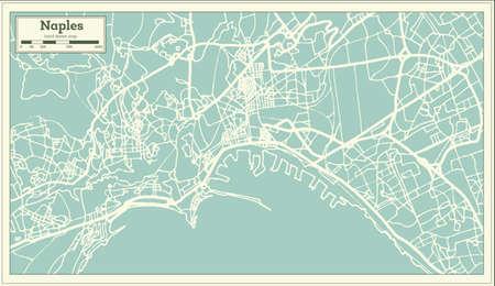 レトロなスタイルでナポリイタリア市の地図。アウトライン マップ。ベクトルイラストレーション。
