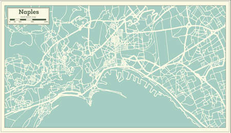 Naples Italy City Map in Retro Style. Outline Map. Vector Illustration.