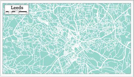 Leeds England City Map in Retro Style.